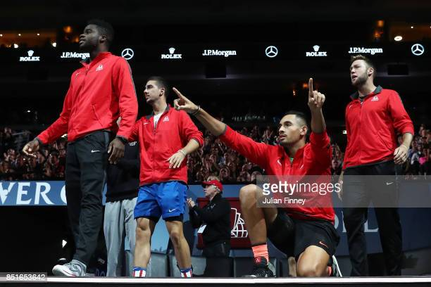 Frances Tiafoe Thanasi Kokkinakis Nick Kyrgios and Jack Sock of Team World react on the players bench as Denis Shapovalov of Team World plays his...