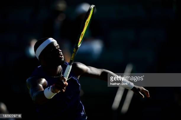 Frances Tiafore of United States plays against Marius Copil of Romania during the men's semi-finals match on day eight of the Viking Open at...