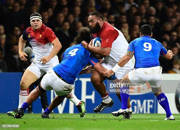 France's tighthead prop Uini Atonio vies with Samoa's second row Chris Vui during the friendly rugby test match between France and Samoa at the...