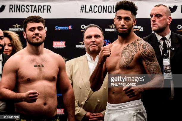 France's Tony Yoka and England's Dave Allen are pictured after the official weighing in Paris on June 22 2018 on the eve of their International...