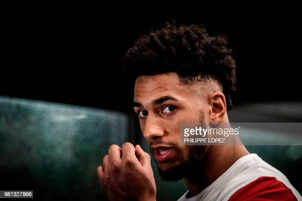 France's Tony Yoka is pictured after the official weighing in Paris on June 22 2018 on the eve of his International Heavyweight fight over ten rounds...