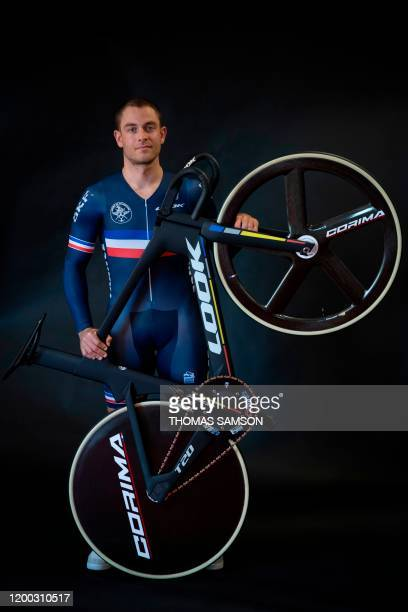France's track cycling national team member Mickael D'Almeida poses after a press conference at the velodrome national de SaintQuentinenYvelines on...