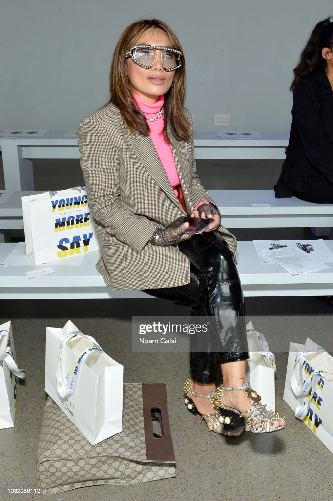 Frances Tsoi attends the Semir X CJ Yao front Row during New York Fashion Week: The Shows at Gallery II at Spring Studios on September 12, 2018 in New York City.