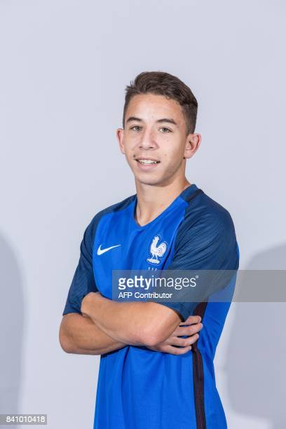 France's Under 21 national football team midfielder Maxime Lopez poses during a photo session at the training center of ClairefontaineenYvelines...