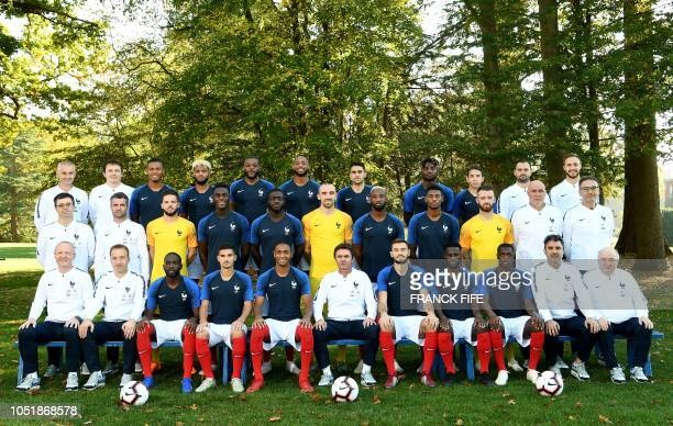 France's under 21 national football team pose on October 10 2018 at ClairefontaineenYvelines near Paris France's press officer Yann Perrin France's...