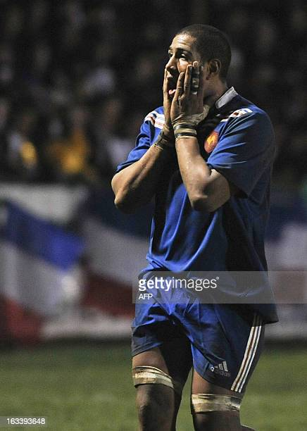 France's under-20 national rugby team player Mathieu Babillot reacts after losing 5-22 in the Six Nations Under-20 international rugby union match...