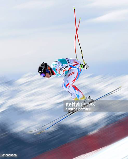 France's Valentin Giraud Moine jumps during the men's downhill practice at the FIS Alpine Skiing World Cup finals on March 15 2016 in St Moritz / AFP...