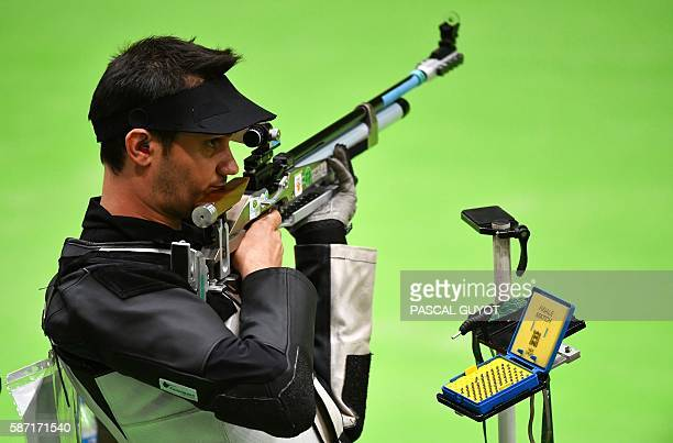 France's Valerian Sauveplane competes during the 10m Air Rifle Men's at the Olympic Shooting Centre in Rio de Janeiro on August 8 during the Rio 2016...