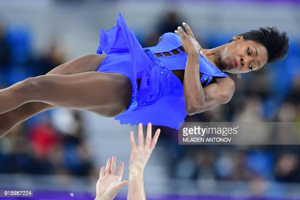 France's Vanessa James and France's Morgan Cipres compete in the figure skating team event pair skating short program during the Pyeongchang 2018...