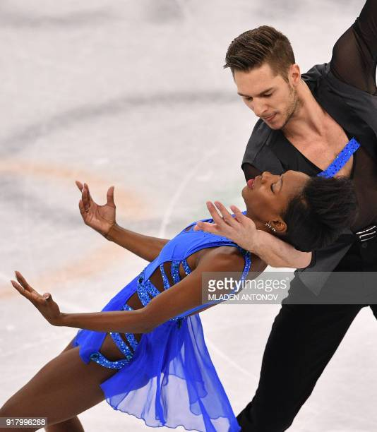 France's Vanessa James and France's Morgan Cipres compete in the pair skating short program of the figure skating event during the Pyeongchang 2018...
