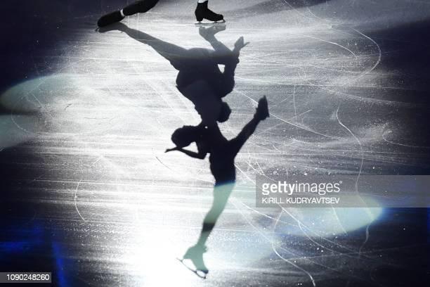 TOPSHOT France's Vanessa James and Morgan Cipres perform during the gala exhibiton at the ISU European Figure Skating Championships in Minsk on...