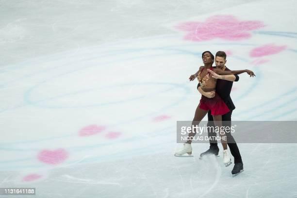 France's Vanessa James and Morgan Cipres perform during the pairs short program at the world figure skating championships in Saitama on March 20 2019