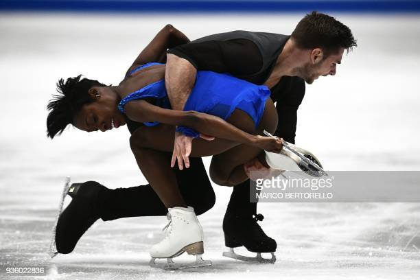 TOPSHOT France's Vanessa James and Morgan Cipres perform during the Pairs short program at the 2018 World Figure Skating Championship in Milan on...