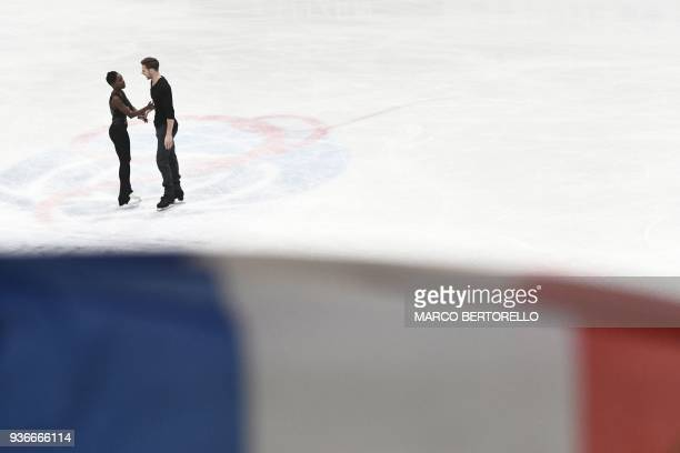 TOPSHOT France's Vanessa James and Morgan Cipres perform on March 22 2018 during the Pairs Free figure skating at the the Milano World League Figure...