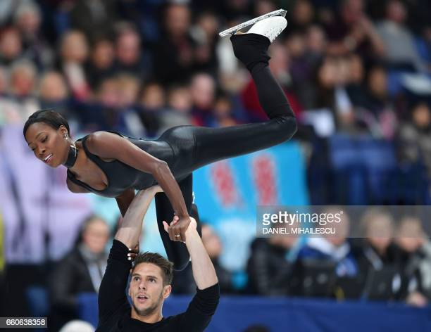 France's Vanessa James and Morgen Cipres compete during the pairs free skating program at the ISU World Figure Skating Championships in Helsinki...
