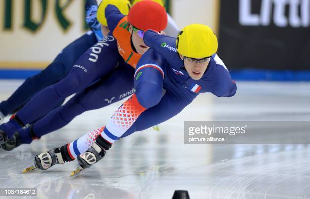France's Veronique Pierron in action during the European Short Track Championship at EnergieVerbund Arena Dresden Germany 19 January 2014 Photo...