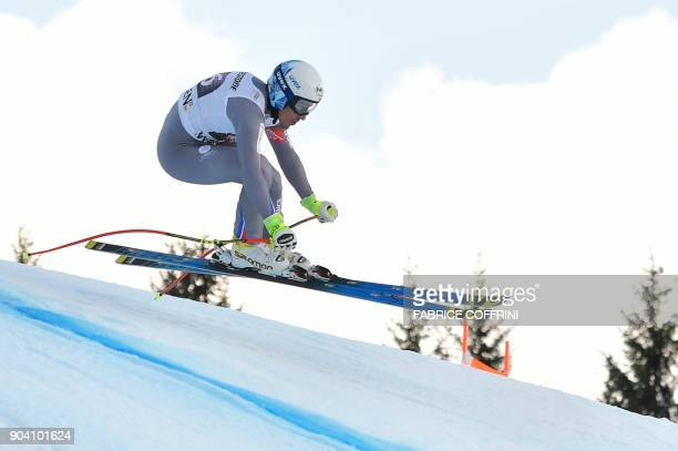 France's Victor MuffatJeandet competes in the Downhill race of the men's Alpine Combined at the FIS Alpine Skiing World Cup in Wengen on January 12...