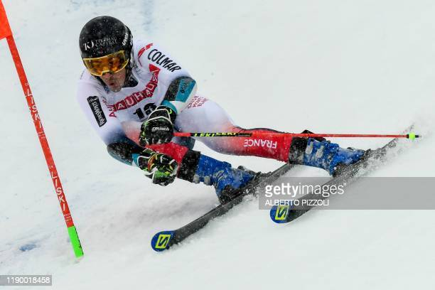 France's Victor Muffat-Jeandet competes in the Men's Giant Slalom of the FIS Alpine World Cup on December 22, 2019 in Alta Badia, Dolomites.