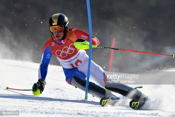TOPSHOT France's Victor MuffatJeandet competes in the Men's Slalom at the Yongpyong Alpine Centre during the Pyeongchang 2018 Winter Olympic Games in...