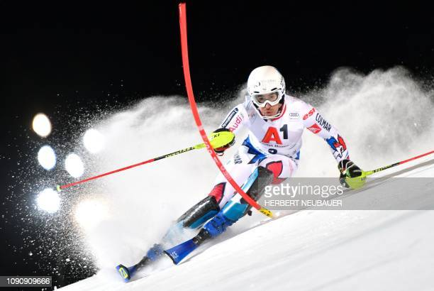France's Victor MuffatJeandet competes in the men's Slalom event at the FIS Alpine Ski World Cup in Schladming Austria on January 29 2019 / Austria...