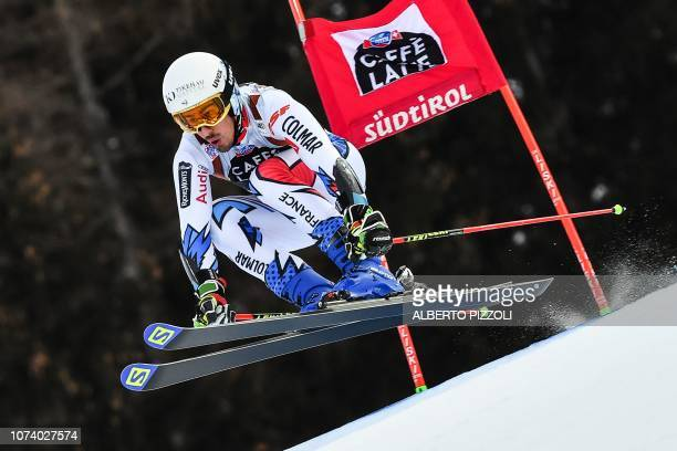 France's Victor Muffat-Jeandet competes in the the FIS Alpine World Cup Men Giant Slalom on December 16, 2018 in Alta Badia, Italian Alps.