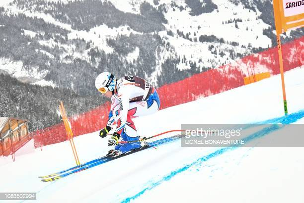France's Victor MuffatJeandet takes part in the training run for the men's downhill race of the FIS Alpine Ski World Cup in Lauberhorn in Wengen on...