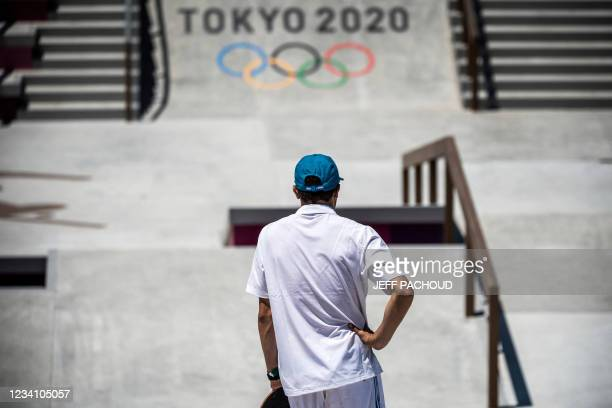 France's Vincent Milou attends a practice session at Ariake Urban Sports Park ahead of the Tokyo 2020 Olympic Games in Tokyo, on July 22, 2021.
