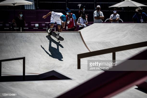 France's Vincent Milou practices at Ariake Urban Sports Park ahead of the Tokyo 2020 Olympic Games in Tokyo, on July 22, 2021.