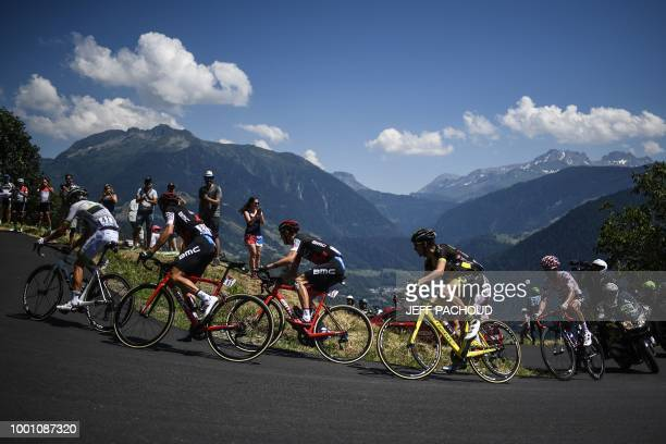 France's Warren Barguil, Italy's Damiano Caruso, US Tejay Van Garderen, France's Romain Sicard, Spain's Daniel Navarro and France's Julian...