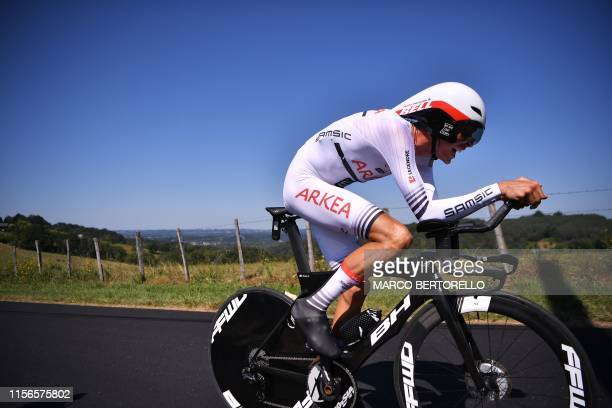 France's Warren Barguil rides during the thirteenth stage of the 106th edition of the Tour de France cycling race a 272kilometer individual timetrial...