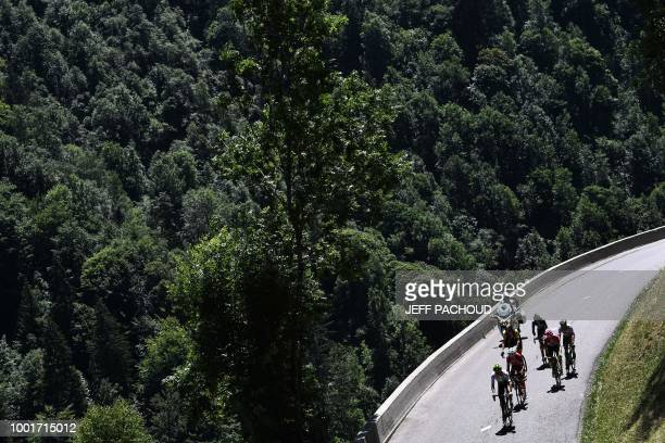 France's Warren Barguil rides in breakaway group in the ascent of the Col de la Madeleine pass during the twelfth stage of the 105th edition of the...