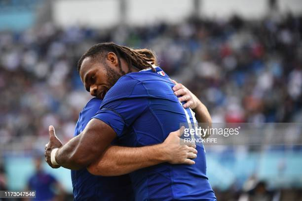 TOPSHOT France's wing Alivereti Raka celebrates after scoring a try during the Japan 2019 Rugby World Cup Pool C match between France and the United...