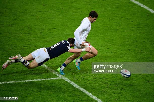 France's wing Damian Penaud scores a try during the Six Nations rugby union tournament match between France and Scotland on March 26 2021, at the...