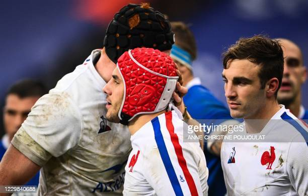 France's wing Gabin Villiere celebrates with teammates after scoring a try during the Autumn Nations Cup Group B international rugby union match...