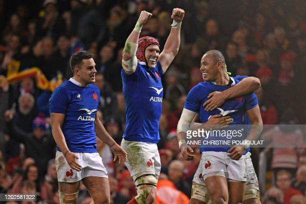 France's wing Gael Fickou celebrates after scoring a try but it is disallowed for a forward pass during the Six Nations international rugby union...