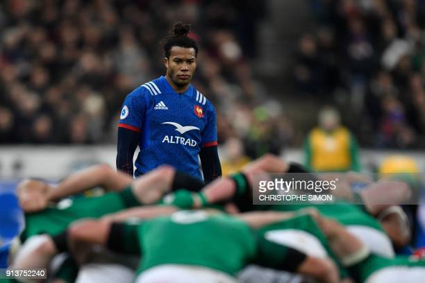 France's wing Teddy Thomas looks on during the Six Nations rugby union match between France and Ireland at the Stade de France in Paris on February 3...