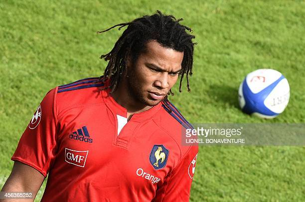 France's winger Teddy Thomas is seen during a training session on September 29, 2014 in Marcoussis, south of Paris. AFP PHOTO / LIONEL BONAVENTURE