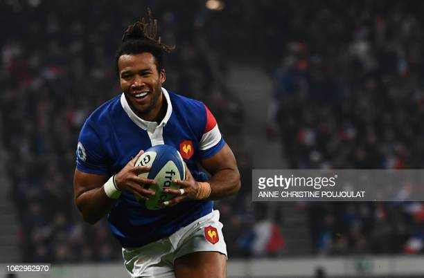 France's winger Teddy Thomas runs to score his second try during the international rugby union test match between France and Argentina at the Pierre...