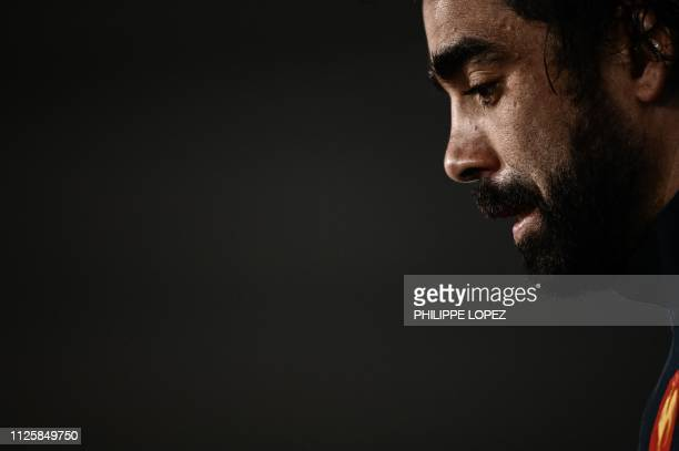 France's winger Yoann Huget speaks during a press conference on February 19 2019 in Marcoussis southern Paris ahead of their Six nations Nations...
