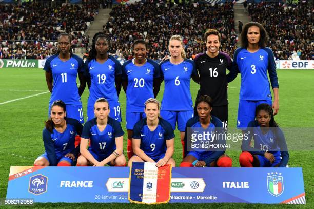 France's women football team Amel Majri Marion Torrent Eugenie Le Sommer Onema Grace Geyoro Aminata Diallo and Ouleymata Sarr Griedge Mbock Bathy Nka...