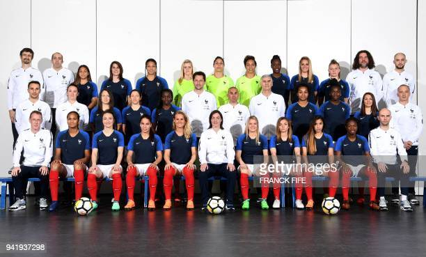 France's women's national football team press officer Jerome Millagou France's midfielder Delphine Cascarino midfielder Charlotte Bilbault forward...
