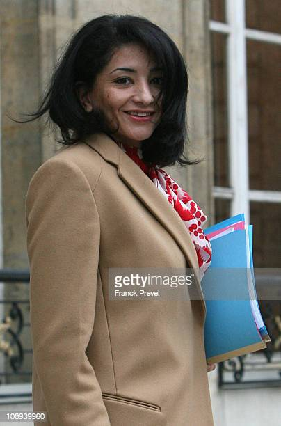France's Youth and Associations Junior Minister Jeannette Bougrab leaves the weekly cabinet meeting at Elysee Palace on February 9 2011 in Paris...