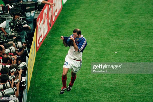 France's Zinedine Zidane celebrates scoring the second goal in the 1998 FIFA World Cup final France vs Brazil | Location Saint Denis France