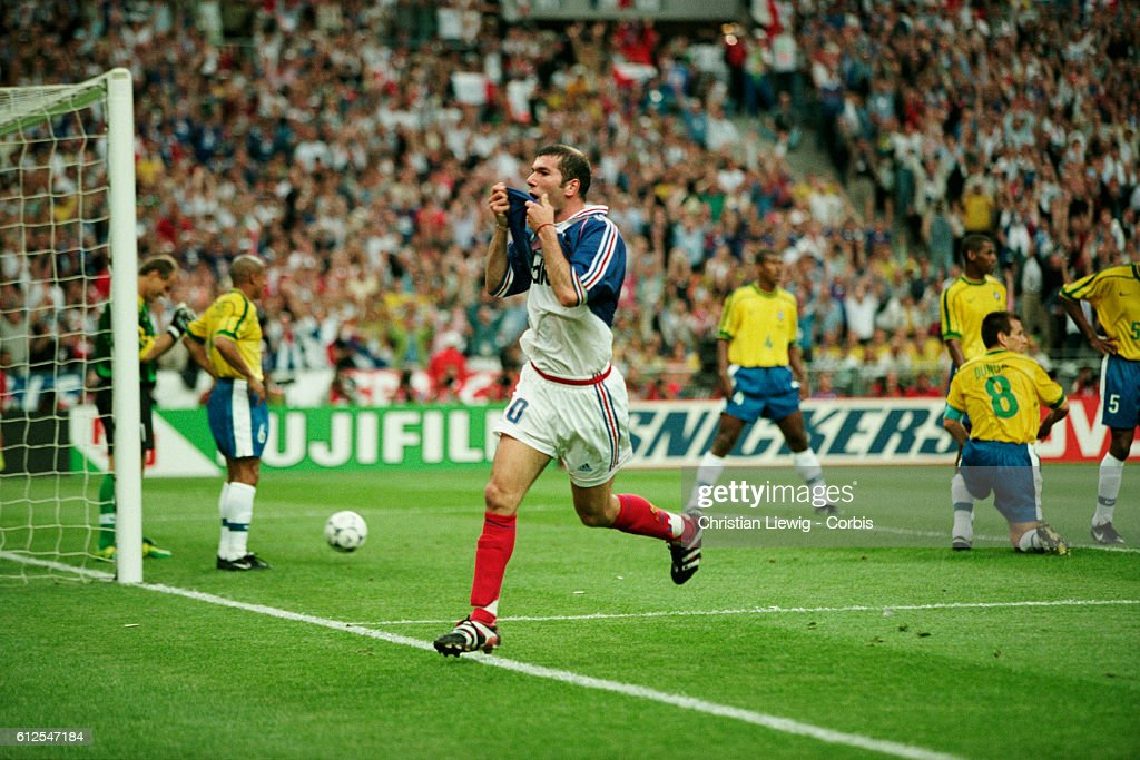 France's Zinedine Zidane celebrates scoring the second goal of the 1998 FIFA World Cup final against Brazil. France won 3-0. | Location: Saint Denis, France.