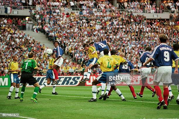 France's Zinedine Zidane scoring the first goal during the 1998 FIFA World Cup final against Brazil France won 30 | Location SaintDenis France