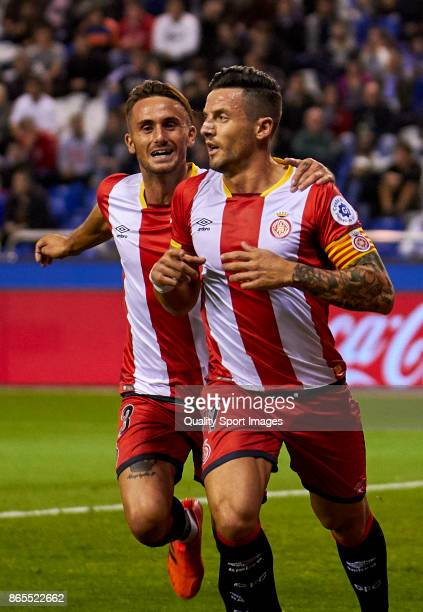 Francesc Aday and Aleix Garcia of Girona FC during the La Liga match between Deportivo La Coruna and Girona at Riazor Stadium on October 23 2017 in...
