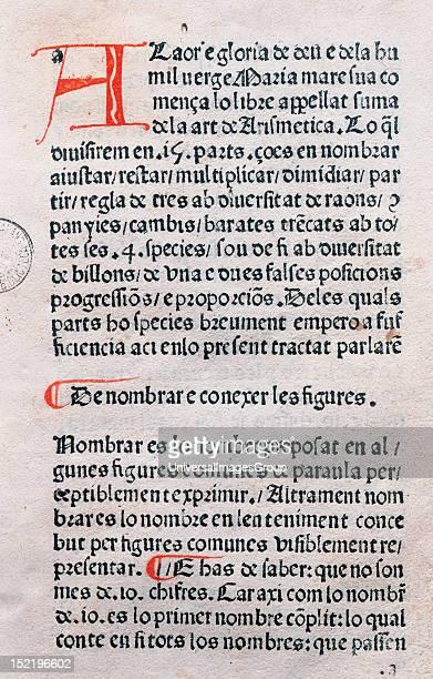 Francesc de Santcliment Suma de la Art de la Arismetica Catalan Folio 1 Printed in Barcelona 1482 Incunabula