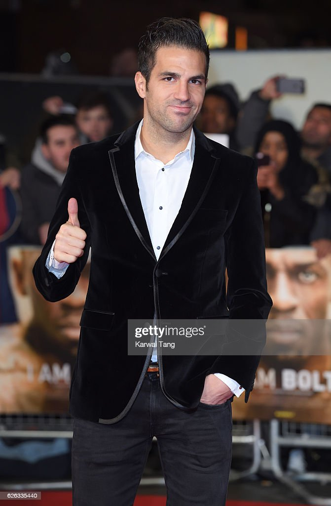 Francesc Fabregas attends the World Premiere of 'I Am Bolt' at Odeon Leicester Square on November 28, 2016 in London, England.
