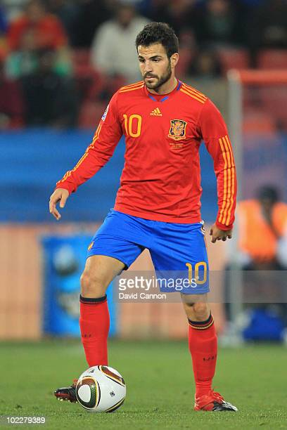 Francesc Fabregas of Spain in action during the 2010 FIFA World Cup South Africa Group H match between Spain and Honduras at Ellis Park Stadium on...
