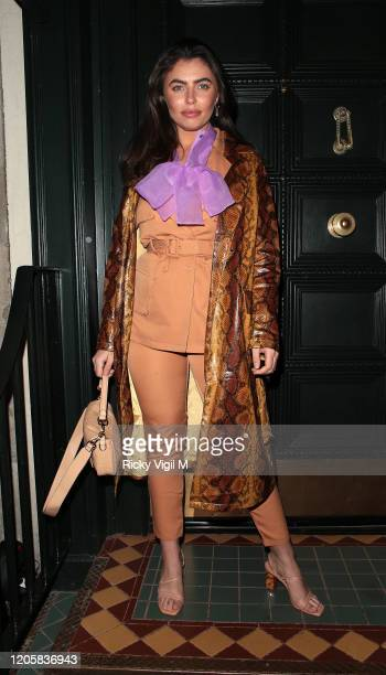 Francesca Allen seen attending Gymkhana VIP dinner in Mayfair on February 12 2020 in London England